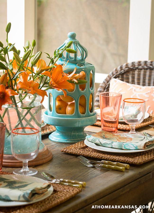 turquoise and orange tablescape | Jana Hunter Interiors