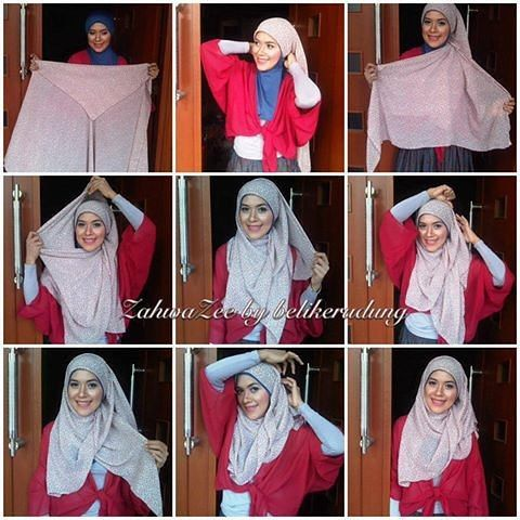 Hijab tutorial using square scarf for daily look
