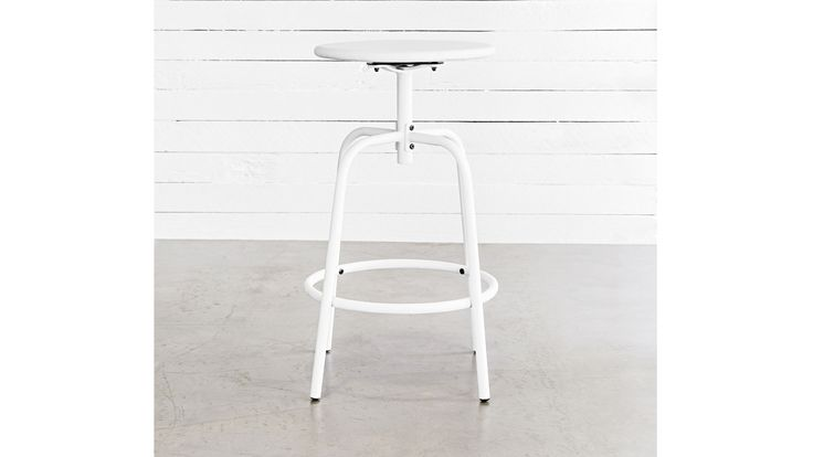 Iron Swivel Stool in White from Domayne Online$199