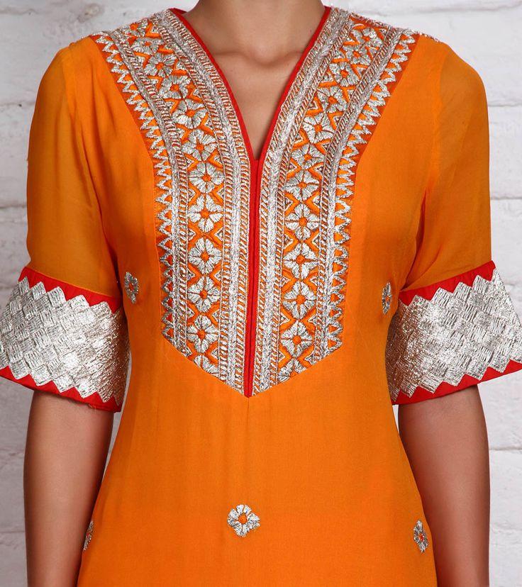 Orange Georgette Churidar Suit with Gota Work | by Panee