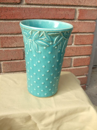 "McCoy 7"" tall Hobnail Vase with Leaves"