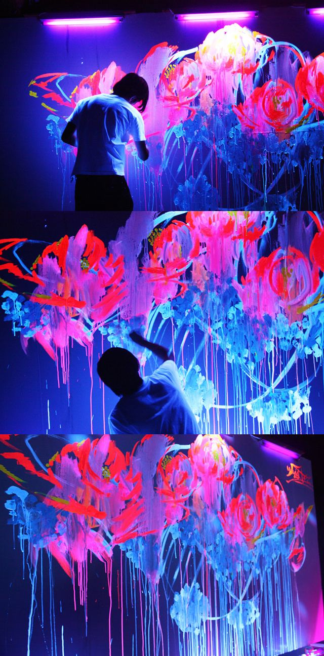 Houxo Que  glow art ... abstract ... glow paint ... black light ... luminous
