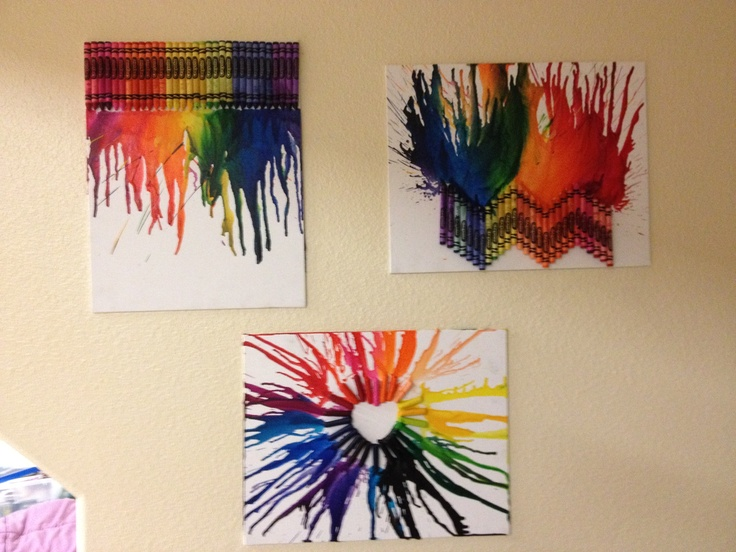 DIY Dorm Decor: a box of crayons, a canvas and a blow dryer.