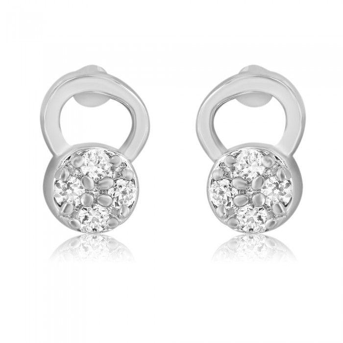 Stylish Frolicsome Rohdium CZ Diamond Earrings   High5Store.com