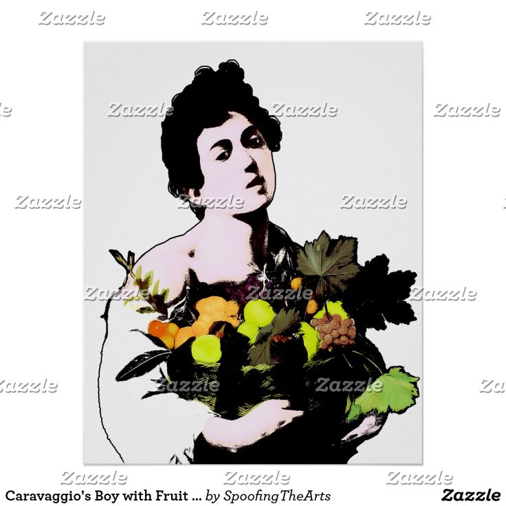 Caravaggio's Boy with Fruit Basket - Pop Art Style Poster  by #Spoofingthearts at #Zazzle ~ available in several size options. Find the best fit for your wall! Add background color to this one, too! ~ #homedecor #walldecor #poster #gravityx9