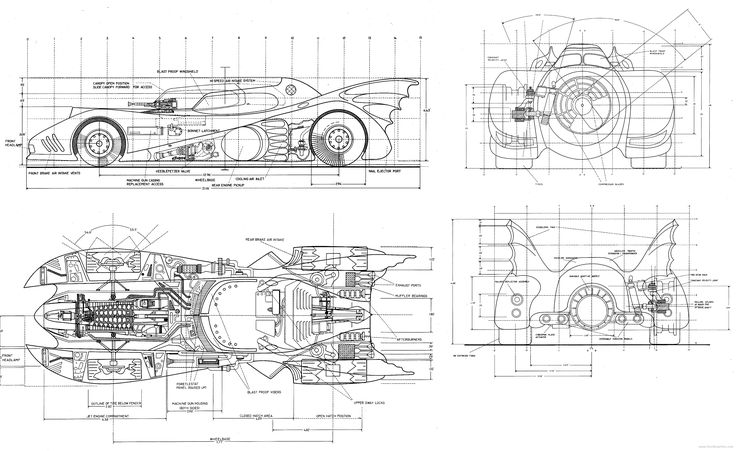 Batmobile Blueprints Batman Dibujos De Autos Y Dibujos