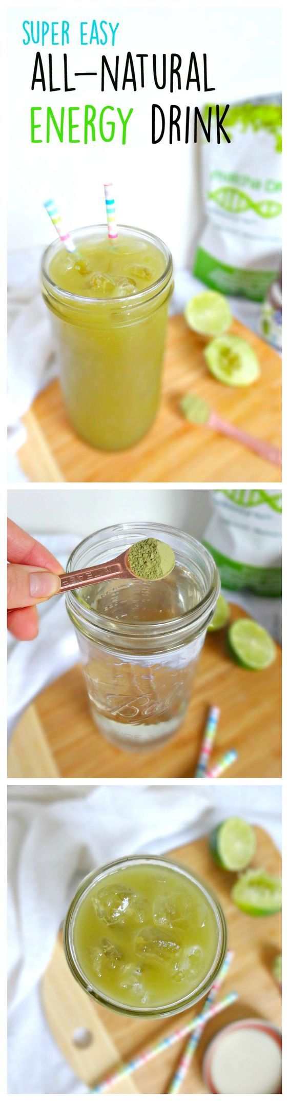 Super Easy All-Natural Energy Drink - homemade, vegan, pure and healthy energy that's ready in 30 seconds. The healthy replacement for coffee and sugary drinks for: focus, concentration and energy! Made with superfood matcha powder. From The Glowing Fridge.