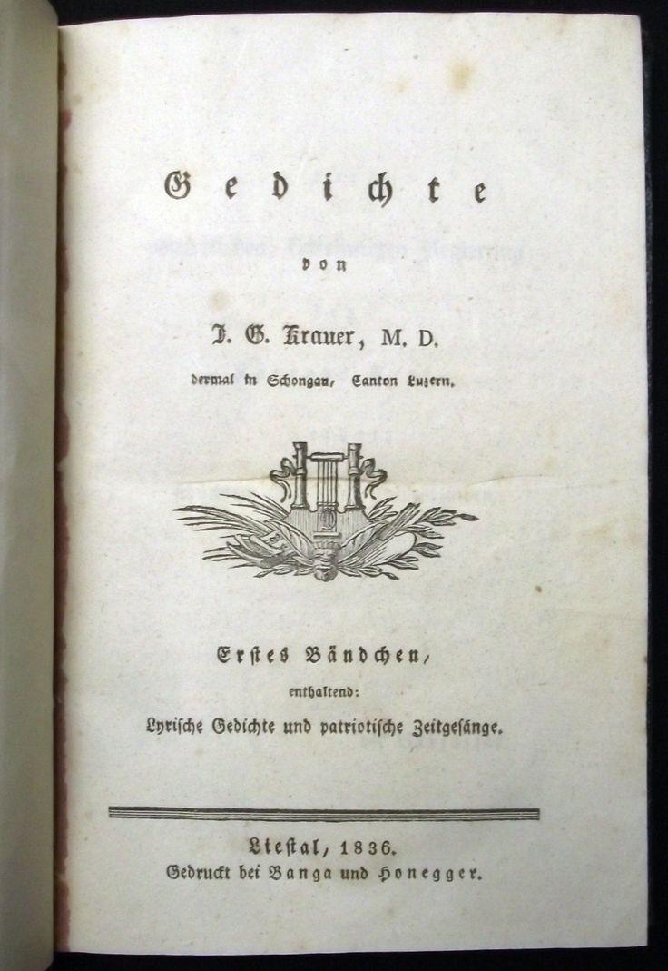 1836 Gedichte / Joseph G. Krauer. 2 Bde in 1. Halbleinen um 1900. EA