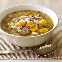 I had this last week at a friend's house, and it was GREAT! Image of  Turkey Sausage, White Bean and Butternut Squash Soup