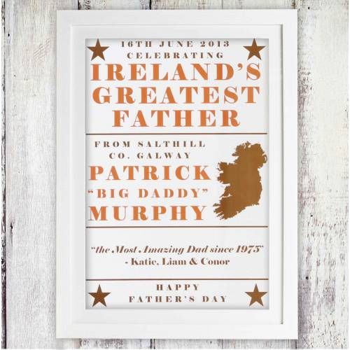Ireland's Greatest Father Personalised Poster | Fathers day gifts | Pinterest | Hampers online, Personalized posters and Father