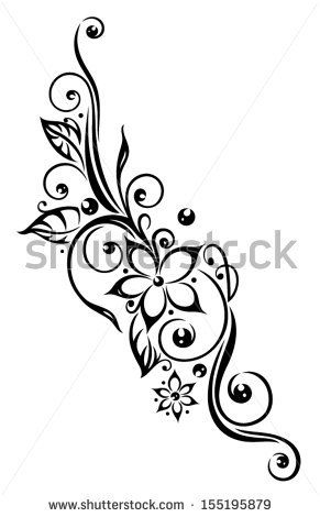 Black Flowers Illustration, Tribal Tattoo Style. - 155195879 : Shutterstock ...I think I would want the flowers to be forget me nots