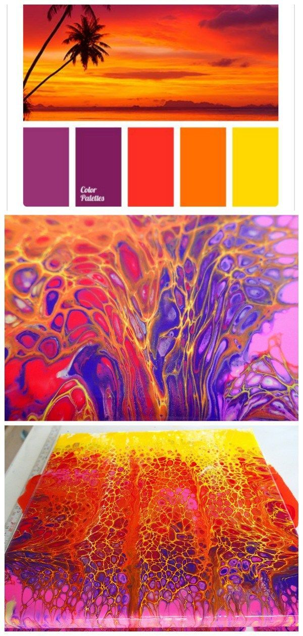 Sunset colors acrylic swipe painting. Vivid colors make for awesome cells in this video tutorial for a sunset acrylic pour and swipe painting #artpainting