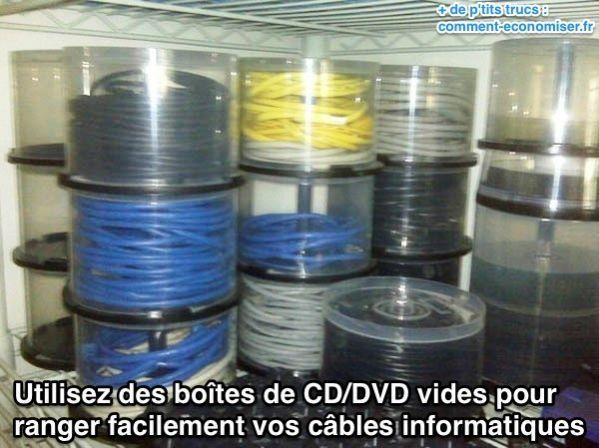 Pour ranger les câbles informatiques sans qu'ils s'emmêlent, il suffit d'utiliser des boîtes de CD/DVD vides :-)  Découvrez l'astuce ici : http://www.comment-economiser.fr/rangement-cables-informatiques.html?utm_content=buffer7a4f1&utm_medium=social&utm_source=pinterest.com&utm_campaign=buffer