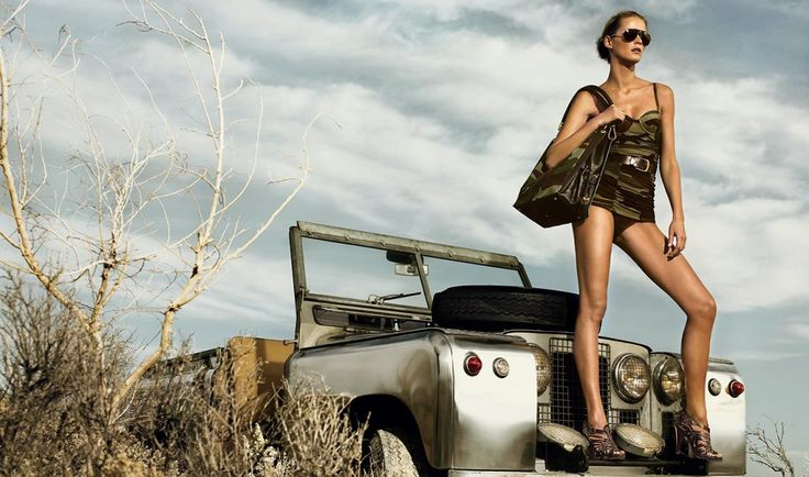 High Fashion - Posing with silver Land Rover ★ App for Land Rover or Range Rover…