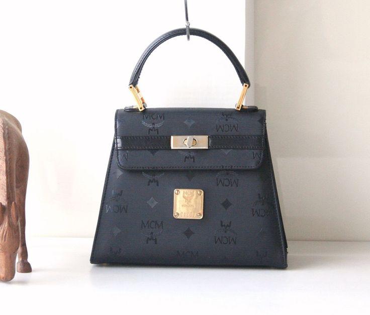 Authentic MCM Visetos Black Canvas kelly Tote handbag vintage purse by hfvin on Etsy  #mcm #visetos #black #kellybag #hfvin