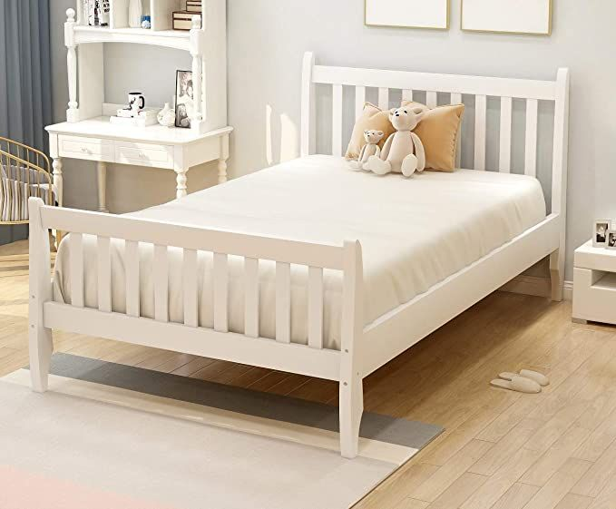 Rhomtree Twin Size Wood Platform Bed Frame Kids Bed Single Bed With Headboard And Wood Slat Support Mattress F Wood Twin Bed Bed Frame Mattress White Bed Frame Twin bed frame with slats