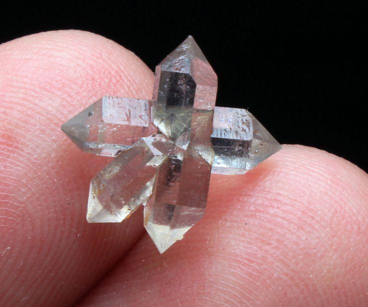 3ct  NATURAL Unique skeletal Elestial QUARTZ Crystal Double End Specimen