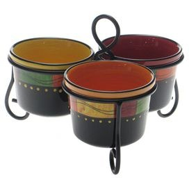 "Three stoneware bowls held together with a scrolling stand. Bowls are hand-painted with a Southwestern stripe motif.   Product: Stand and three bowlsConstruction Material: Ceramic and metalColor: MultiFeatures: Hand-paintedDimensions: 7.5"" H x 9.75"" W x 9.75"" D (overall)Cleaning and Care: Dishwasher and microwave safe"