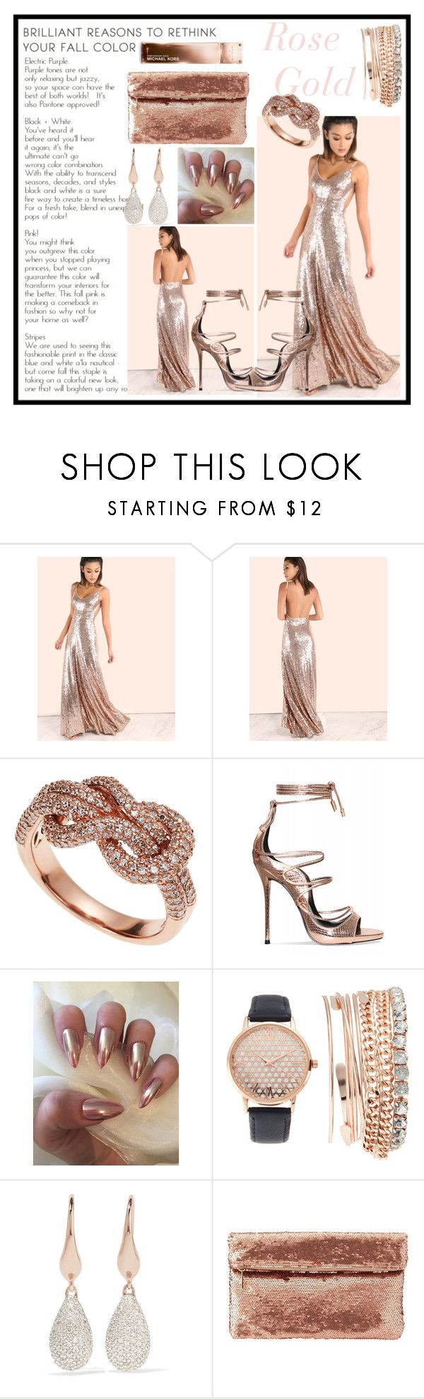 """Rose Gold"" by anoushkavarma on Polyvore featuring Effy Jewelry, Jessica Carlyle, Monica Vinader, Charlotte Russe and Michael Kors"