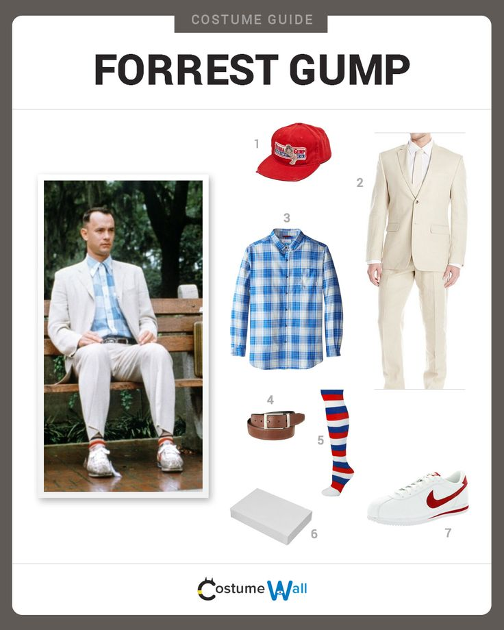 Dress Like Forrest Gump from the classic movie. See costumes and cosplays of Forrest.