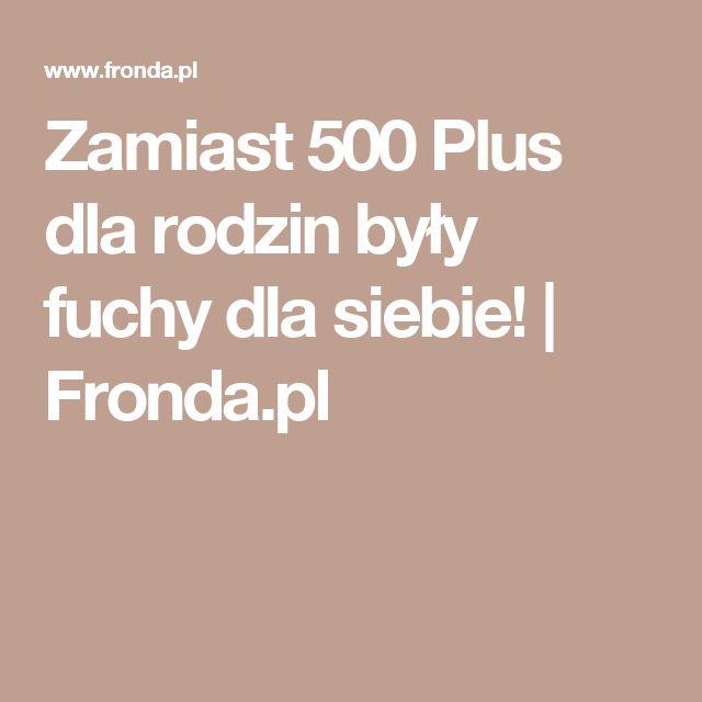 Zamiast 500 Plus dla rodzin były fuchy dla siebie! | Fronda.pl