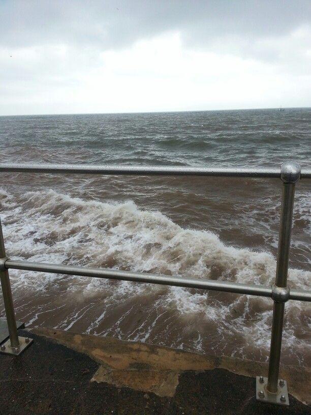 Waves on teignmouth beach.