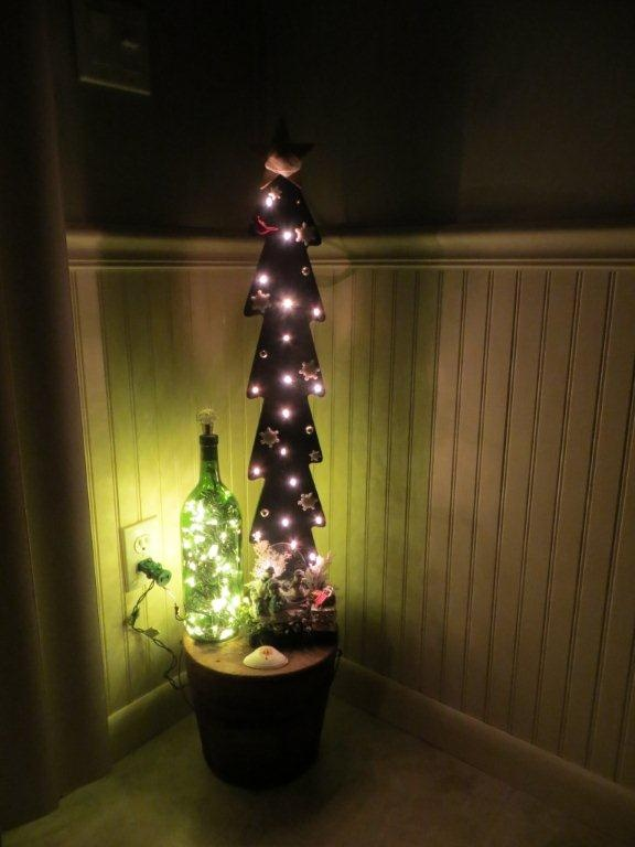 95 best crafts with bottles images on pinterest glass for Recycled christmas decorations using bottles