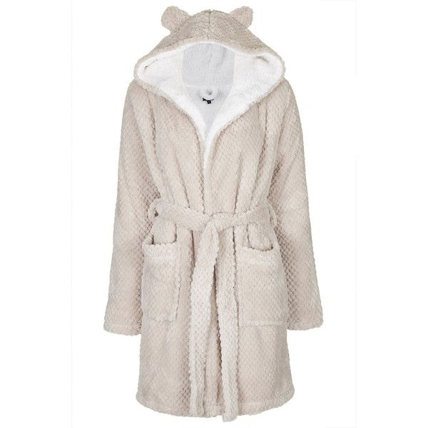 TOPSHOP Teddy Robe (415 EGP) ❤ liked on Polyvore featuring intimates, robes, pijamas, pajamas, pyjamas, topshop, lingerie, nude, nude lingerie and hooded bath robe