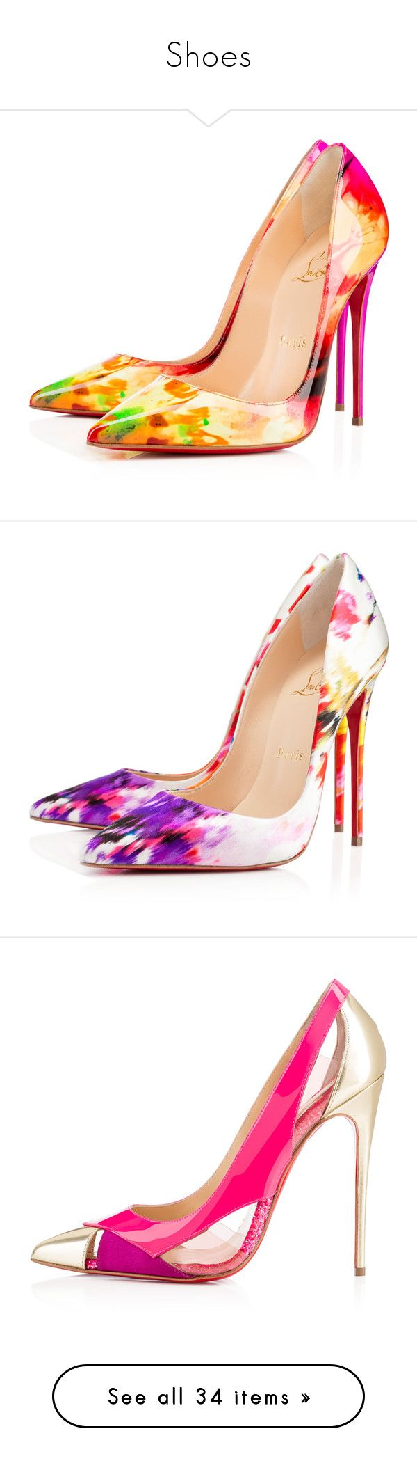 """Shoes"" by asia-12 ❤ liked on Polyvore featuring shoes, pumps, heels, christian louboutin, heels stilettos, summer pumps, multi color pumps, multi colored pumps, christian louboutin pumps and high heels"
