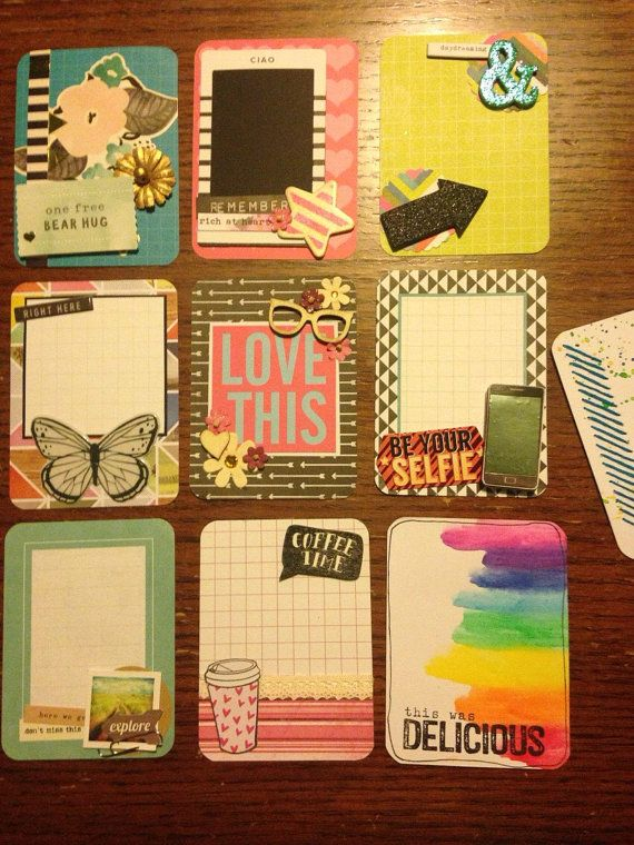 Fun set of handmade project life cards