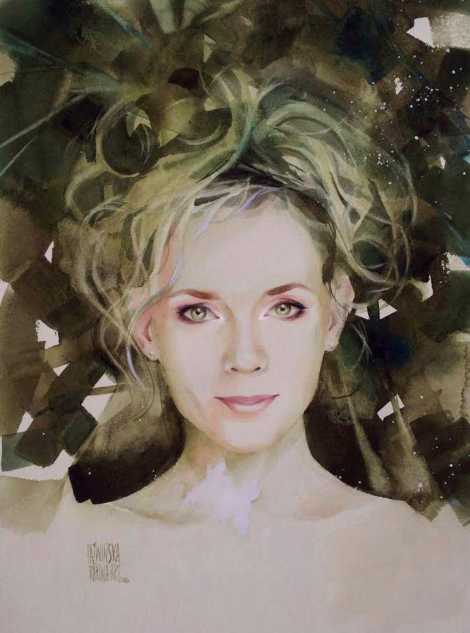 Karina Jaźwińska/ Watercolor/ Green Gold/ Size: 45x32 cm/ QOR