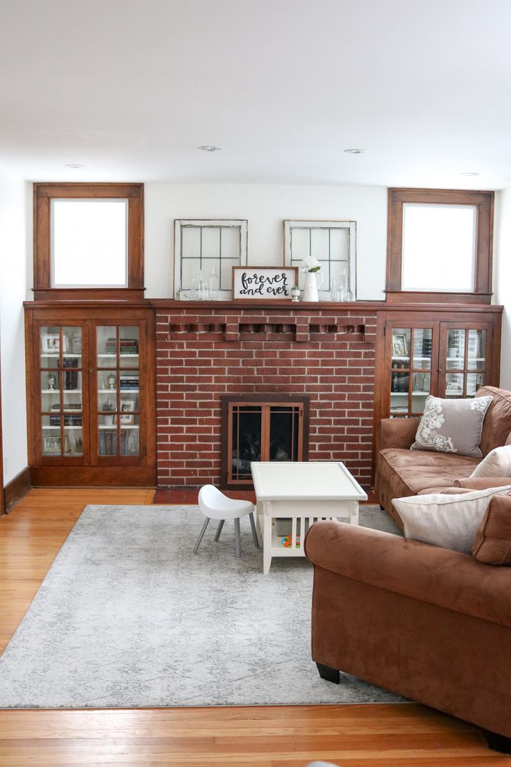How I Styled Our Living Room Mantel And Cabinets With Objects We Already Owned Living Room Mantel Living Room Mantle Craftsman Living Rooms
