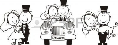 serie di scene di coppia cartoon isolato, ideale per un invito a nozze divertente Archivio Fotografico