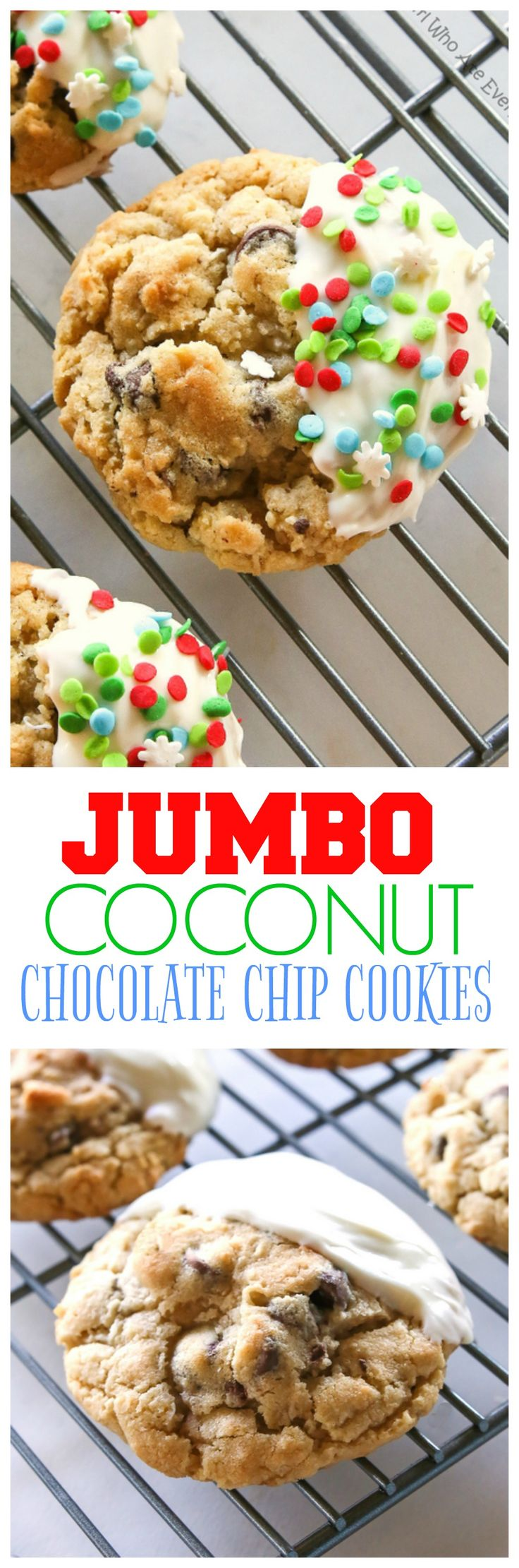Jumbo Chocolate Chip Cookies - These bakery style cookies are full of chocolate chips and coconut. They have a crisp outside with a soft and chewy inside.