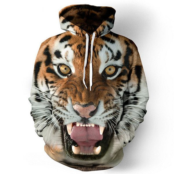 Men hoodies hip hop sweatshirt funny 3D Tiger Lion