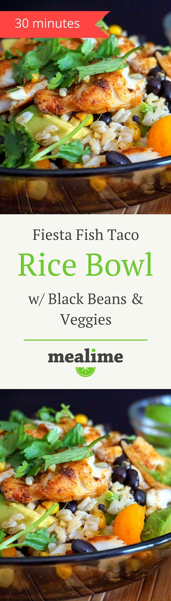 Fiesta Fish Taco Rice Bowl with Black Beans & Veggies via @mealime - a quick and healthy recipe for one or two. Flexitarian, vegetarian, pescetarian, dairy free, gluten free, peanut free, shellfish free, and tree nut free. #mealplanning
