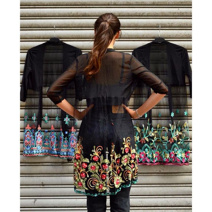 Oriental feeling  Beautiful embroidered black net cardigan collection from Szputnyik shop  #streetstyle
