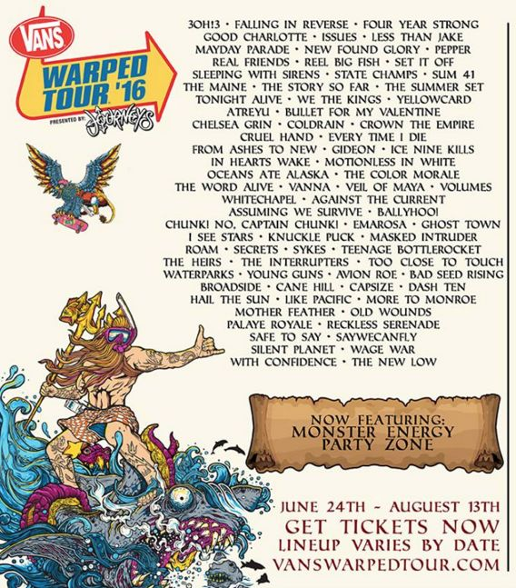 Vans Warped Tour 2016 lineup is here!