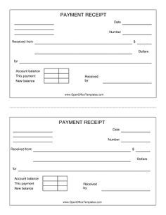 Great for cash and other payment transactions, this printable receipt can be printed two to a page. Free to download and print