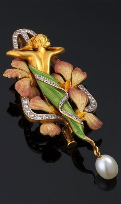 ART NOUVEAU - Louis Masriera - Enamel, Pearl and Diamond Brooch. <3 http://www.uk-rattanfurniture.com/product/richmond-outdoor-rattan-garden-3-seat-sofa-in-brown-all-weather-furniture/