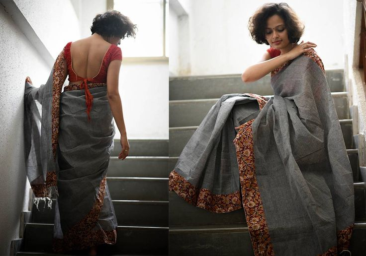 Kalamkari Sarees - Dark Grey mul cotton kalamkari - red border by Suta - PC12094 - Main