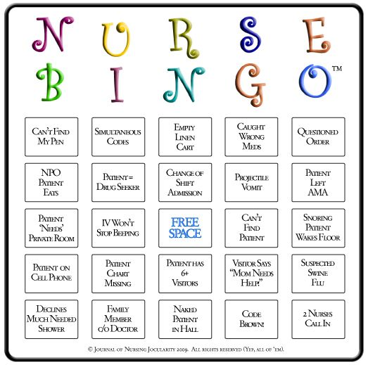 Nursing bingo! take it along to your clinicals! :)