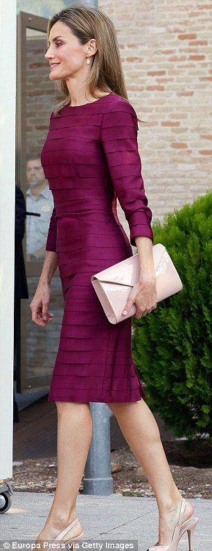 Super svelte: The Spanish royal, who showed off her toned physique in the dress, accessorised with dusky pink court shoes, a style she has long championed, and a matching clutch