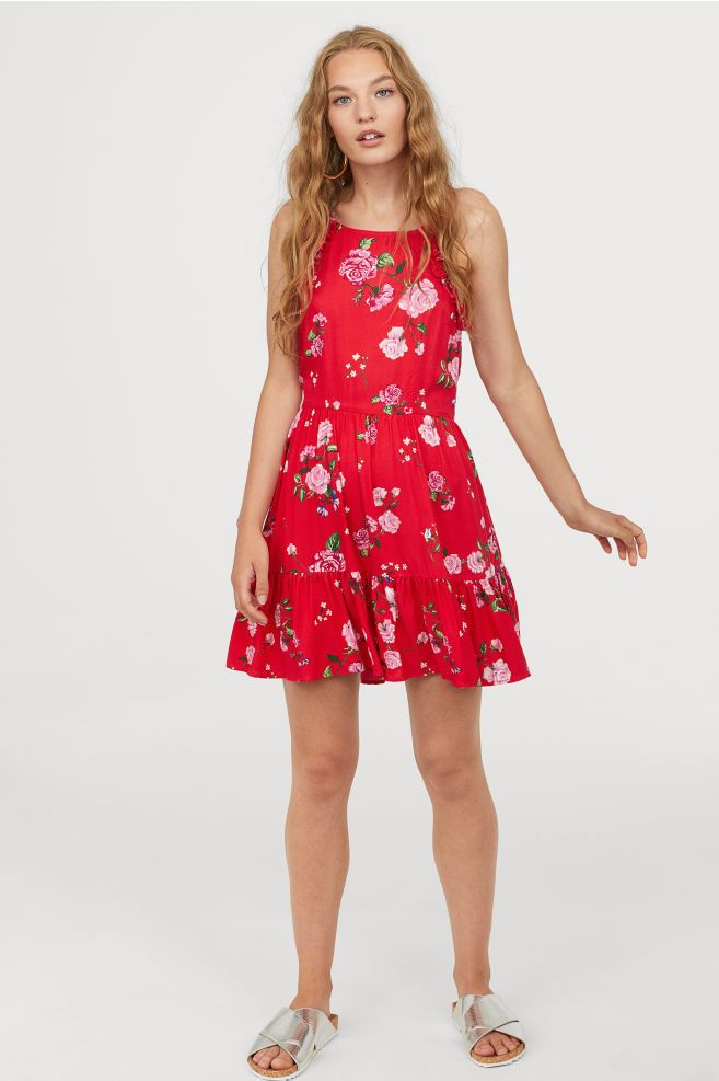 69c5431cee6 Open-backed dress - Bright red Floral - Ladies