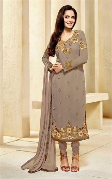 Picture of Decorous Brown Ethnic Georgette Salwar Kameez