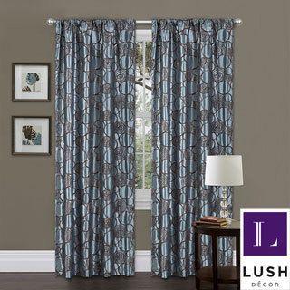 Lush Decor Blue/ Brown 84-inch Circle Charm Curtain Panel