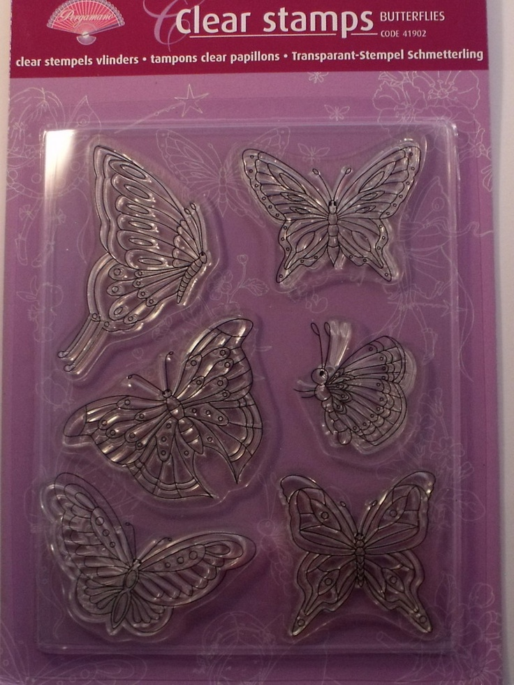PERGAMANO CLEAR STAMPS - BUTTERFLIES      The packing includes a step-by-step description on how you can apply the clear stamps on your creations and how to clean the clear stamps. The clear stamps are acid free and odourless. Use with an acrylic block.