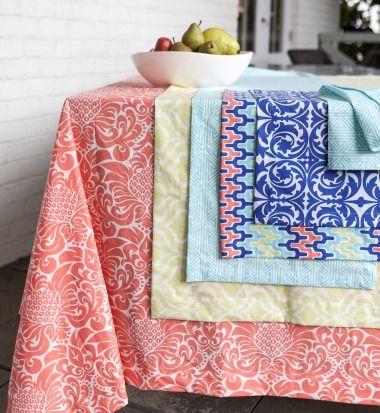 Love The Gracious Persimmon Tablecloth With Greek Key Aqua, Aqua Arabesque,  And Santorini Blue Layered On Top