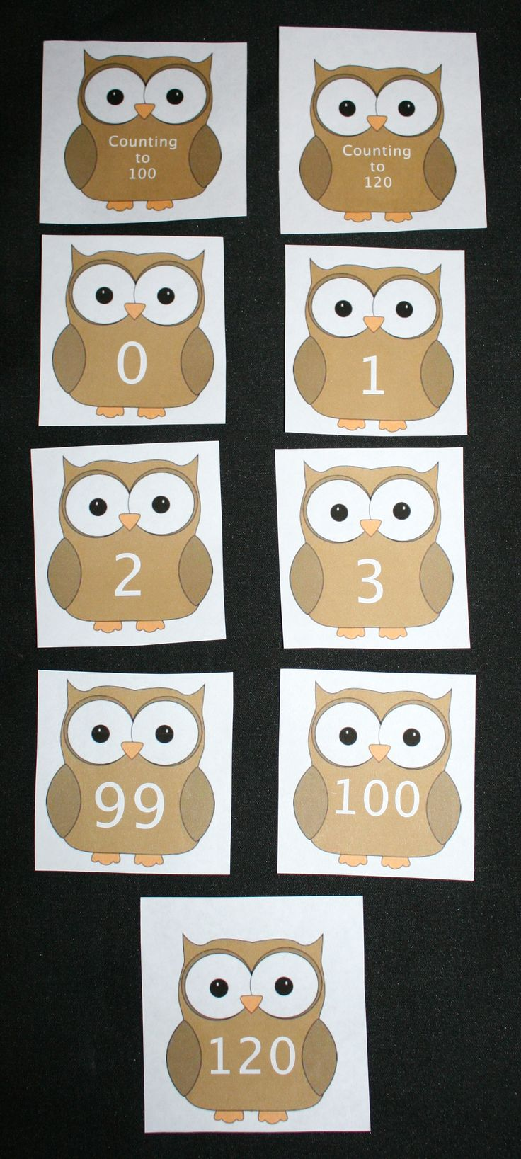 FREE Counting to 120 owl-themed cards. Includes covers for Counting to 100 + a cover for Counting to 120 for making a mini book of KnOWLedge. Put an owl a day up and count up to 100 Day; sort into piles of odd & even; play Whooooo is holding  the greater or less than owl card?