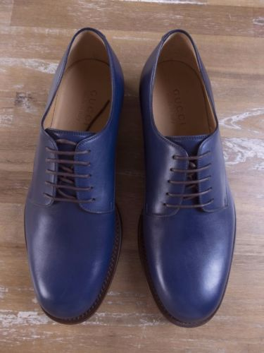 auth GUCCI blue wholecut leather shoes - Size 8 US / 7 UK / 41 EU - New in Box